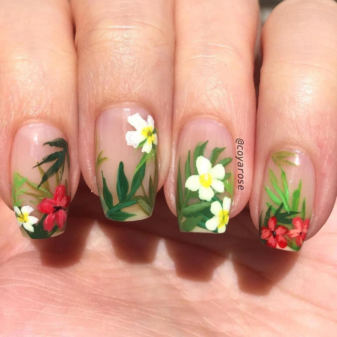 Tropical Leaves Floral Summer Negative Space Nails Nail Art Tropicalnails Hawaiian Nail Art Nail Art Summer Hawaiian Nails