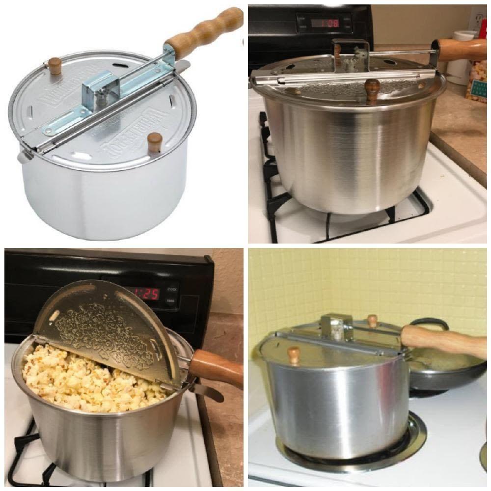 Popcorn Popper Pot Retro Stainless Steel Stove Kettle Top Machine Popcorn Maker