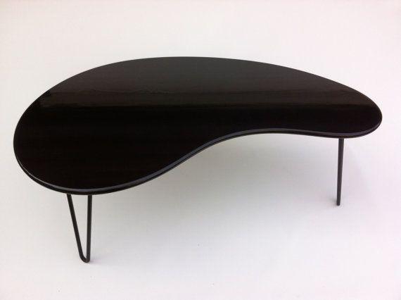 Black Mid Century Modern Coffee Table   Kidney Bean Shaped   Atomic Era  Biomorphic Boomerang Design
