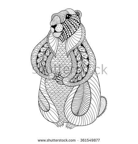 Hand drawn Groundhog for adult coloring pages in doodle, zentangle ...