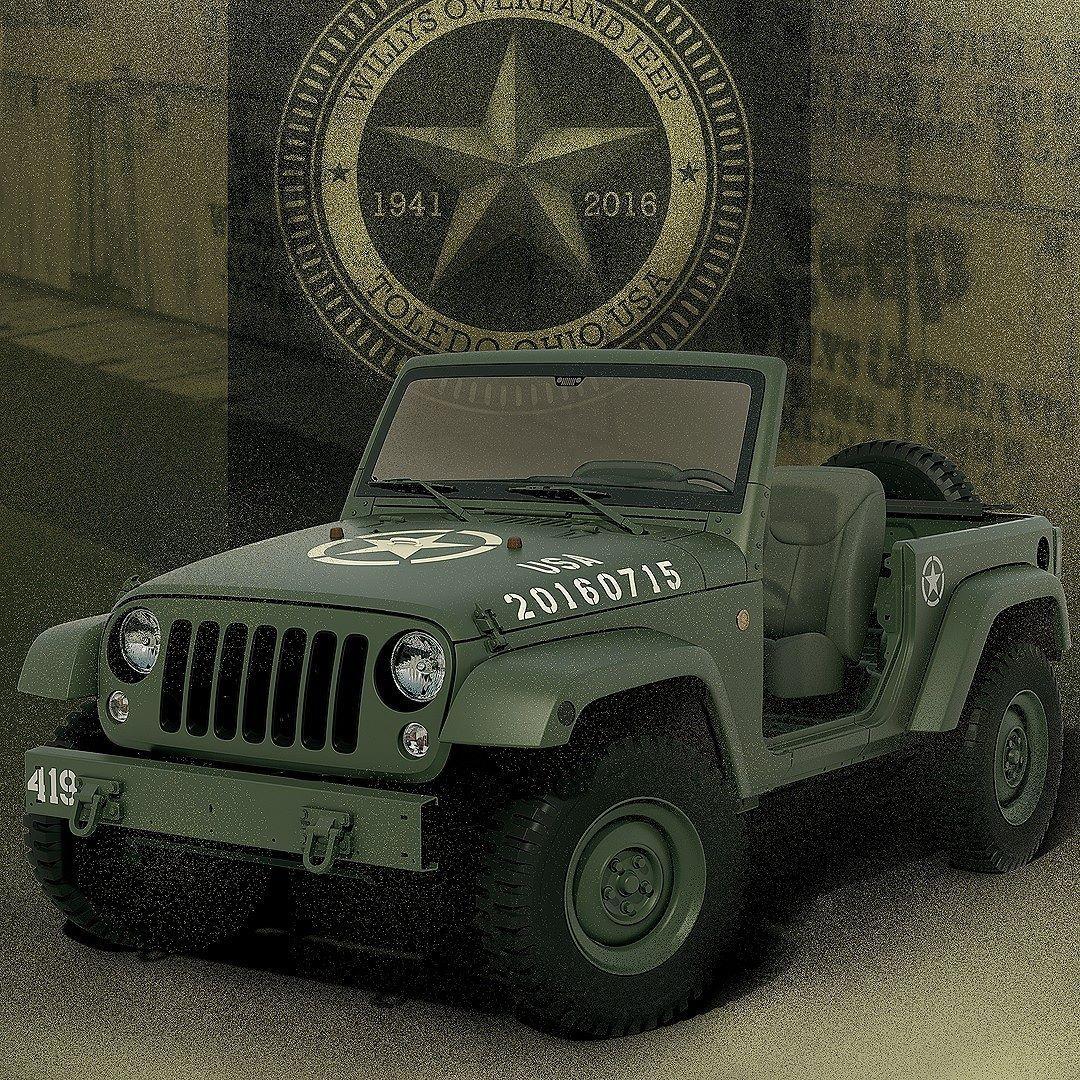 Jeep Wrangler 75th Salute 2016 Conceito Wrangler 75th Salute Faz Homenagem Aos 75 Anos Do Primeiro Jipe Utilizado Durante A Segun Jeep Wrangler Jipes Willys Mb