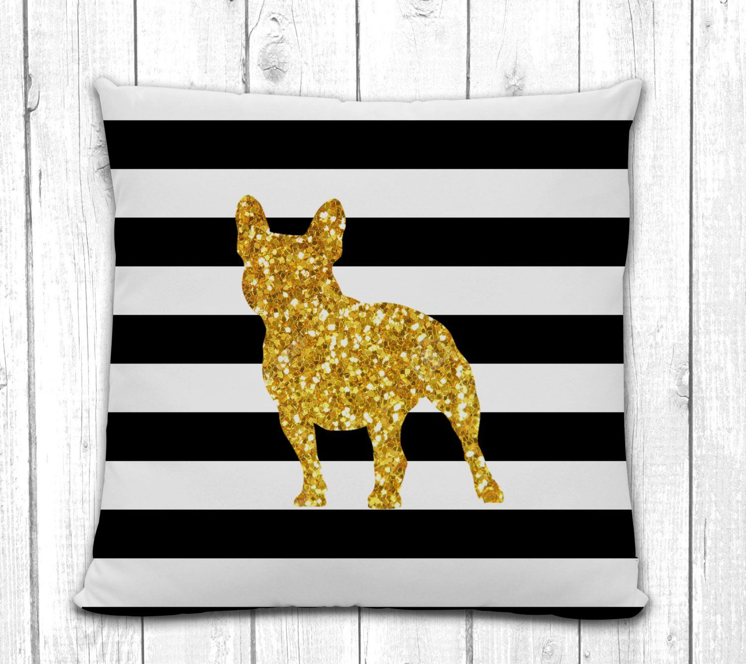 French Bulldog Silhouette Pillow Black and White Stripe