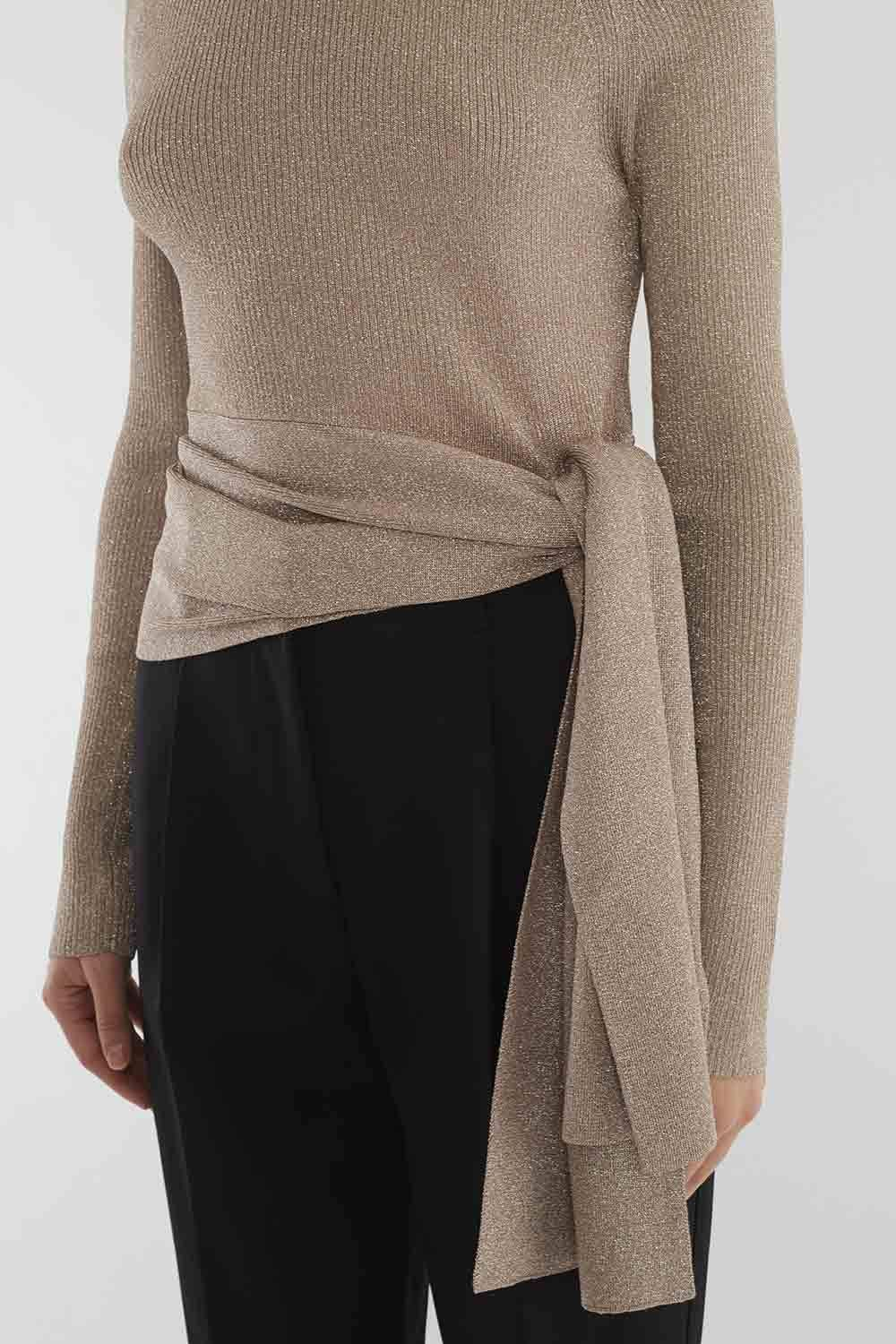 97d91cb81 Ribbed Side-Tie Sweater