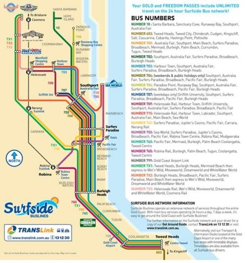Gold Coast Tourist Shuttle Bus Service Freedom Pass surfers map