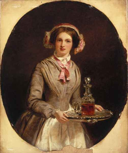 William Powell Frith's  'Sherry Sir?' from 1853. The young woman is clearly a servant, but her head- and neck gear are pretty and decorative.