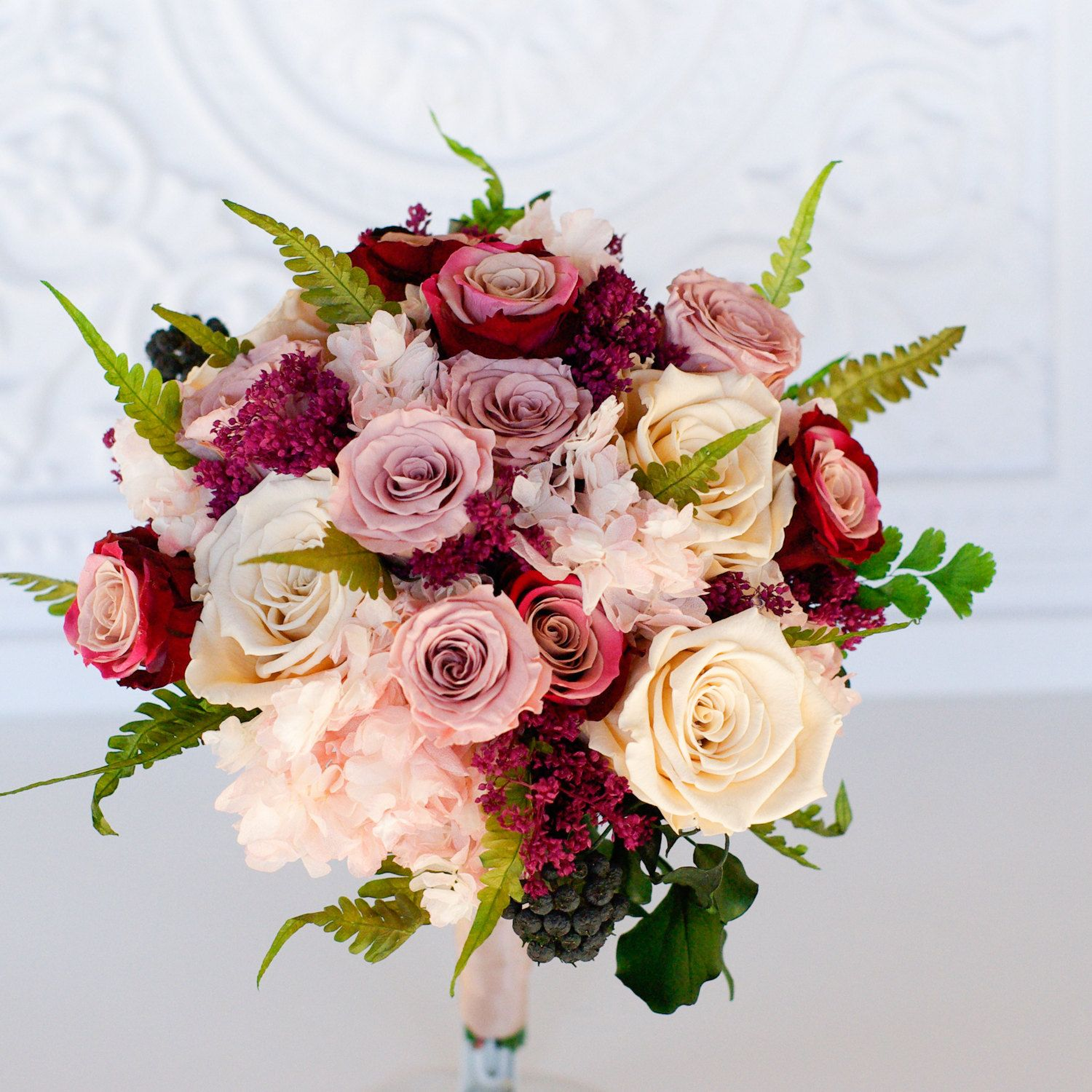 Mauve Dusty Rose Blush Marsala Mulberry Moss Green Ivory Bridal Bouquet Preserved Real Dried Dusty Rose Wedding Wedding Flowers Colorful Bridal Bouquet