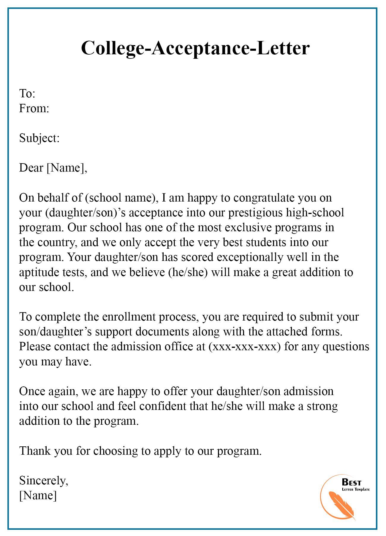 College Acceptance Letter Template Format, Sample