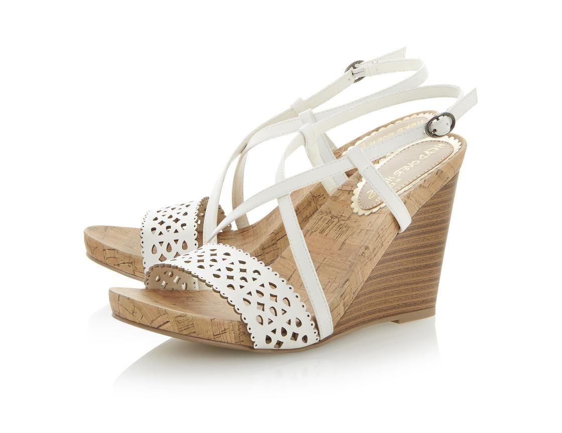 bd45506ce Head Over Heels Ladies GWENN - Laser Cut Out Wedge Sandal white ...