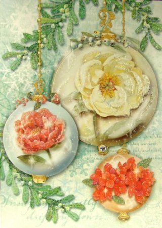 Amazon.com: Punch Studio #59534 Rose Ornaments Christmas Greeting Cards Victorian Die-cut Glitter Embellished, Boxed Set of 12