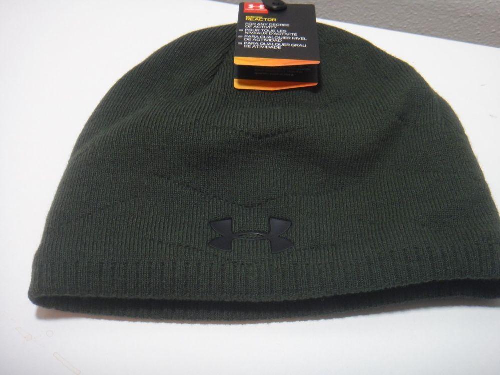 5d8b5c52e52 Under Armour Mens Coldgear Strom Reactor Beanie Hat Color Dark Green Black   Underarmour  Beanie