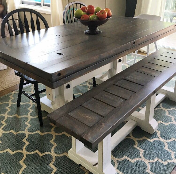 Beautiful Farm Table, Custom, Grey Wash, White Bottom, Grey Top, Rustic,