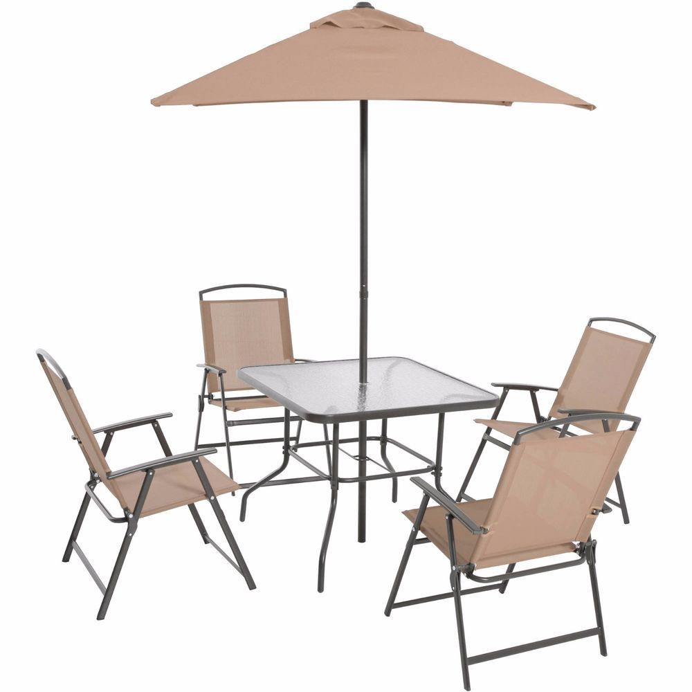 Tan Folding Dining Set 6 Piece Includes Glass Table Top Umbrella Sling  Chairs