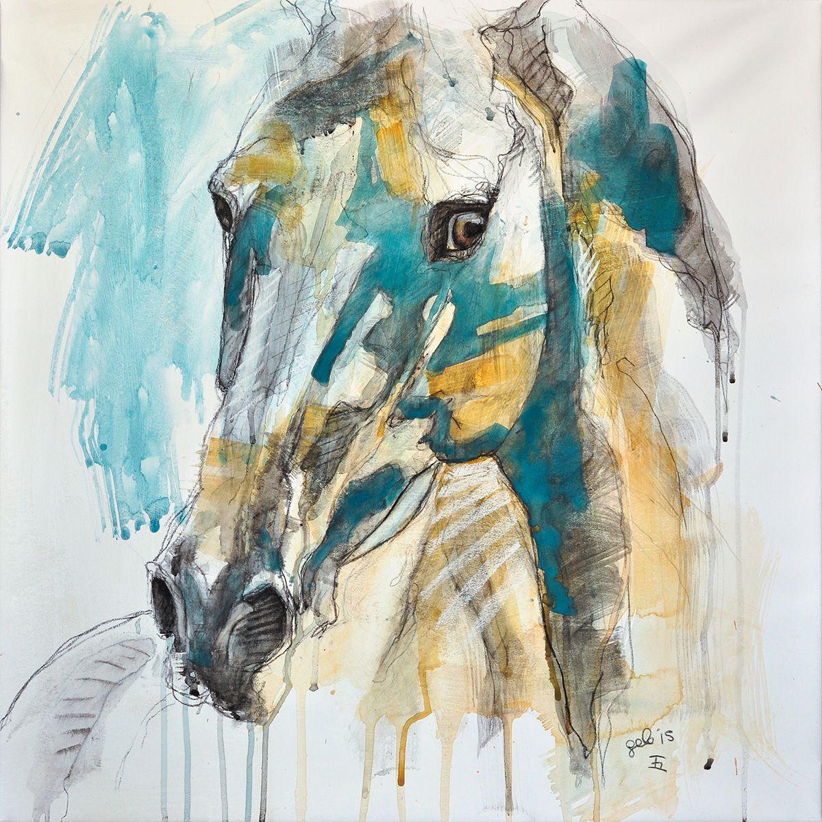 Horse Mixed Media Painting Peinture Technique Mixte D Un Cheval