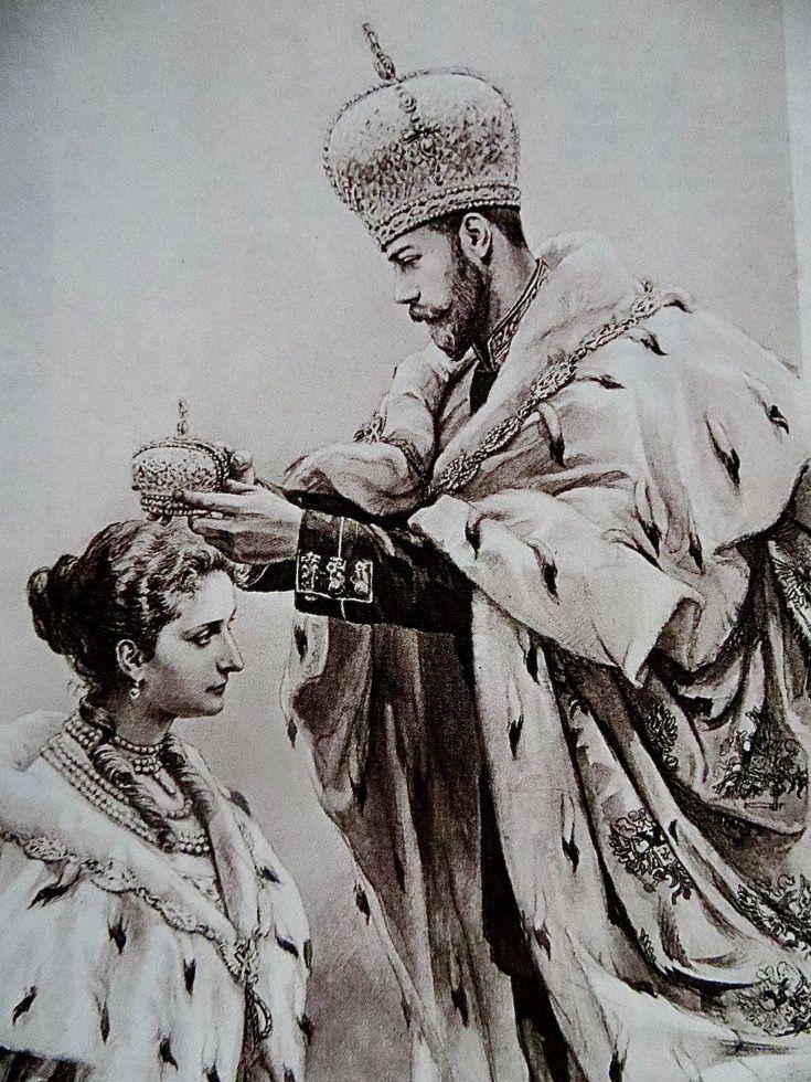 Czar Nicholas II Crowning his wife, Alexandra. Empress of Russia, 1896. NEWSPAPER  ILLUSTRATION OF 1896.