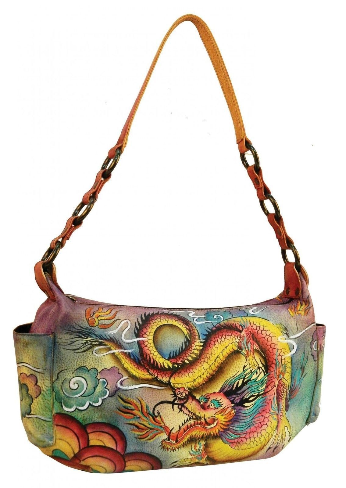 Pre Loved Chka 506 Imperial Dragon East West Purse Leather Side Pockets