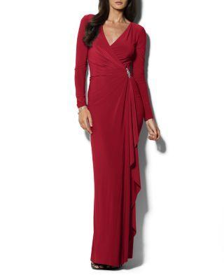 e208836d65183 Lauren Ralph Lauren Petites V-Neck Cascading Ruffle Gown   Bloomingdale's