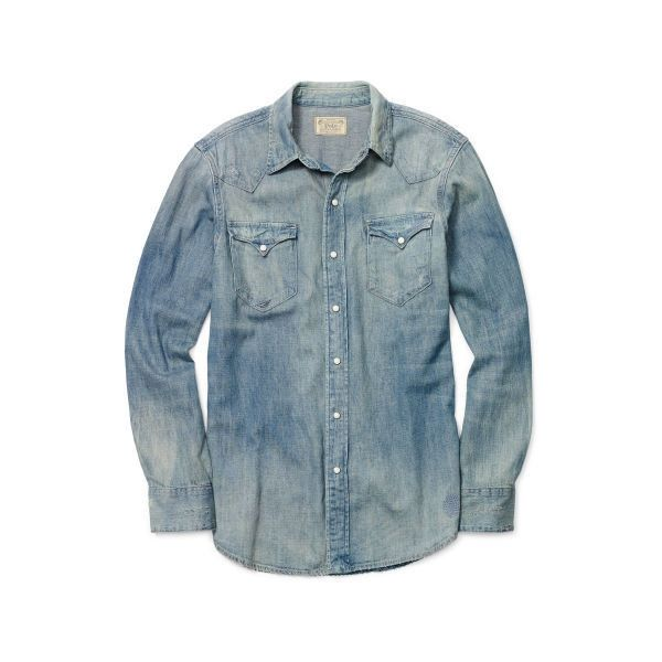 494d381544d Polo Ralph Lauren Distressed Denim Western Shirt ( 195) ❤ liked on Polyvore  featuring men s