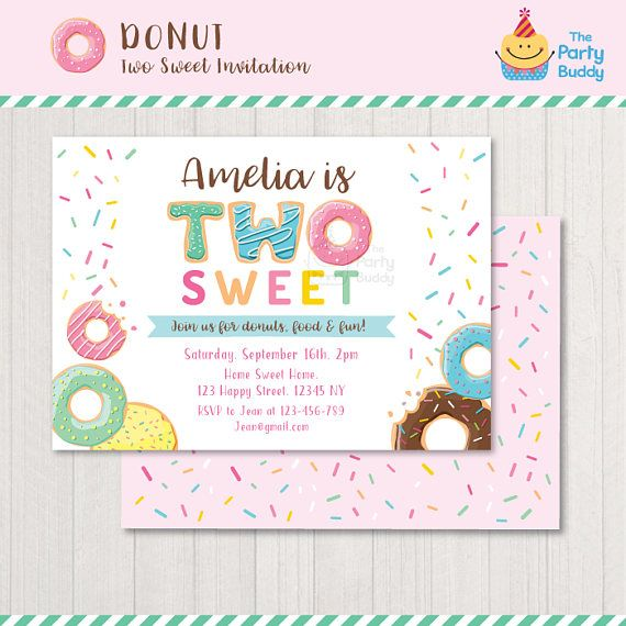 Two Sweet Donut Invitation Printable Girls 2nd Birthday Party