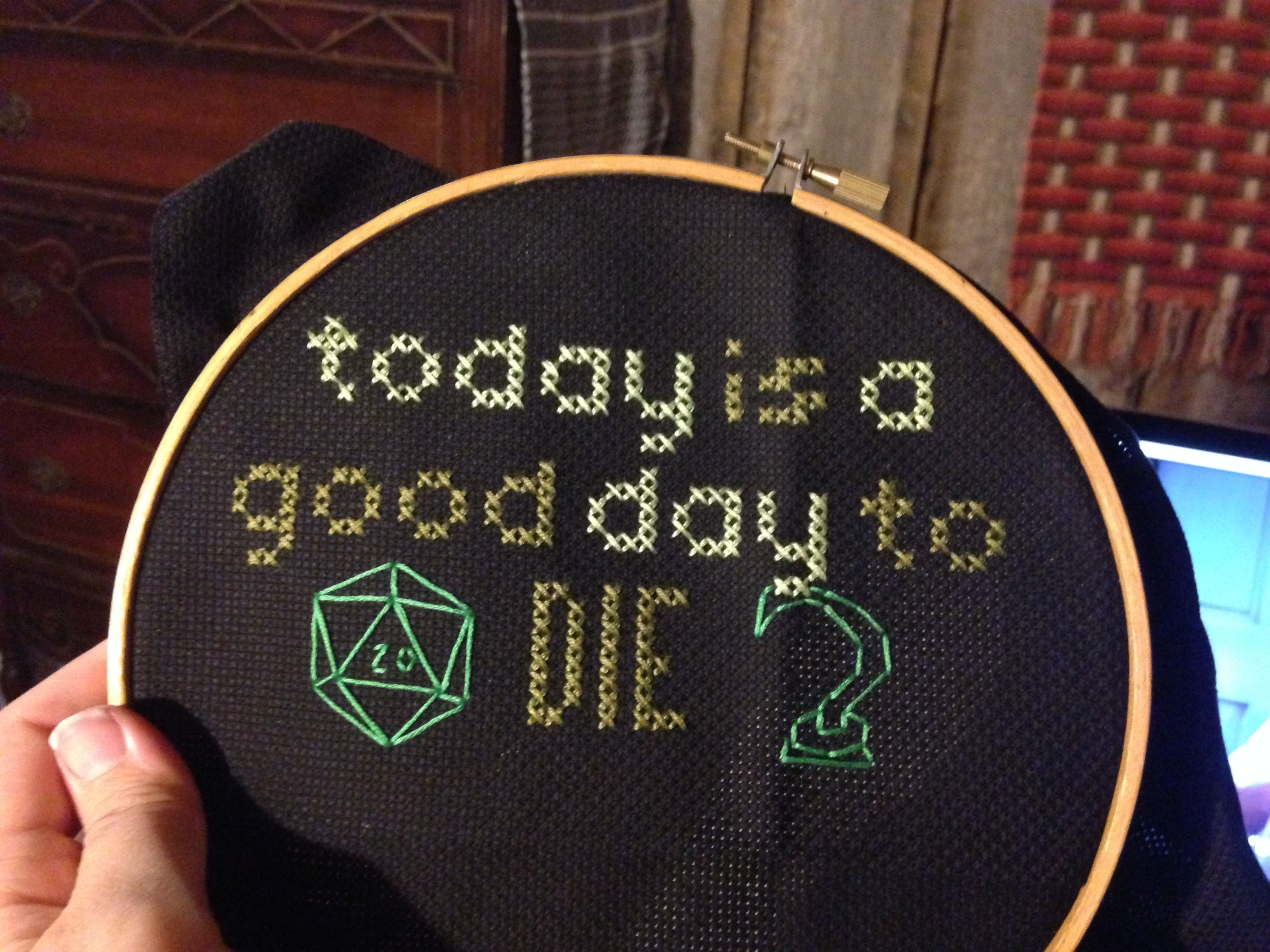 Dungeons & Dragons cross stitch.