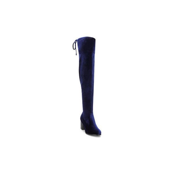Blue Velvet Over the Knee Chunky Heels Boots (1 330 UAH) ❤ liked on Polyvore featuring shoes, boots, heeled boots, over-the-knee high-heel boots, blue boots, over-knee boots and over knee high boots