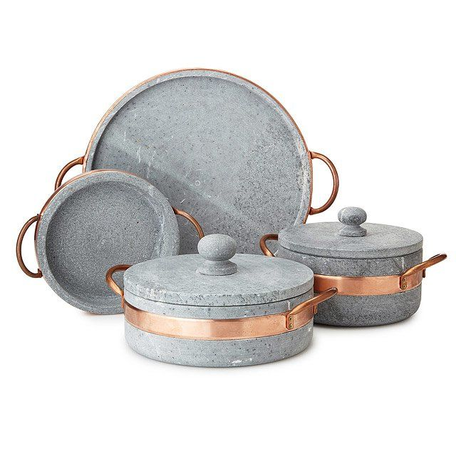 Soapstone Saute Pan with Copper Handle is part of Copper Home Accessories Dream Kitchens - Family meals get an Old World upgrade with this beautifully handcrafted saute pan  Highlighted by a hammered copper handle, this soapstone design serves as a timeless oven to table essential  Soapstone emits no odor and is able to withstand temperatures of up to 1000 degrees Celsius, making it a versatile addition to your cooking arsenal  Handmade in Brazil  Complete your soapstone collection with the Soapstone Pot with Copper Handle, Soapstone Pizza Pan, and Soapstone Stew Pot with Copper Handle