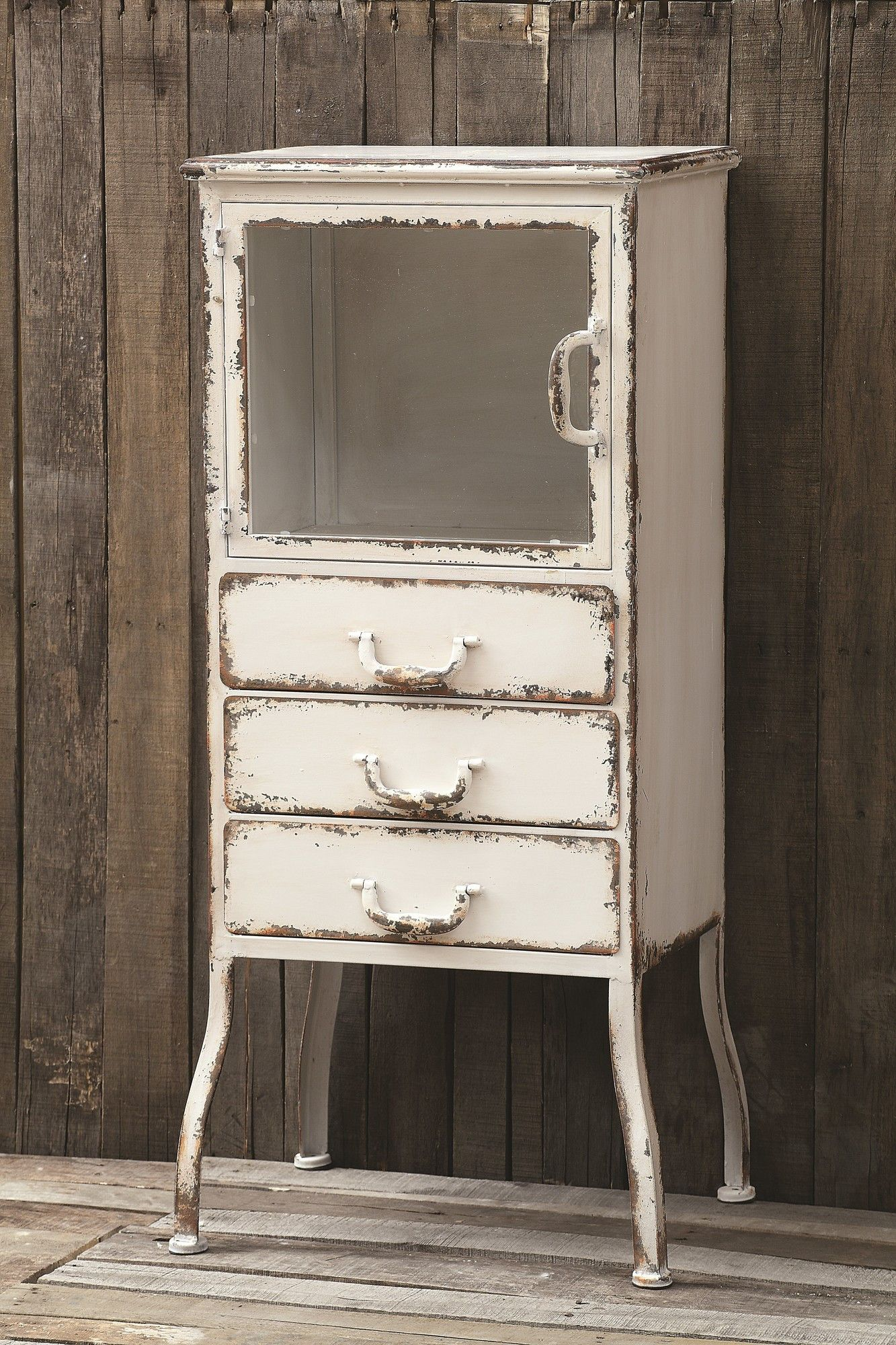 Bring Rustic Elegance To Your Dining Room Or Master Suite With This Elegant Metal Cabinet Showcasing 3 Drawers And A Distressed Finish