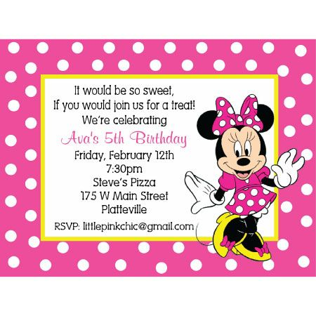 2nd Birthday Minnie Mouse Invitation Wording