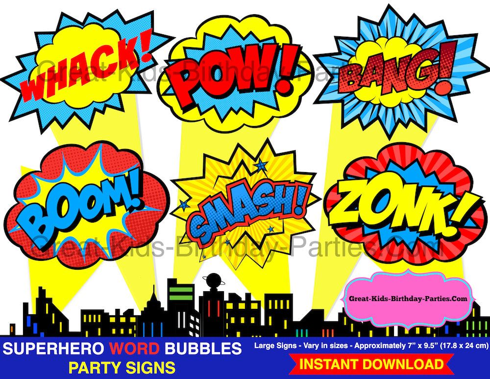 Superhero Word Bubbles Superhero Clipart Superhero