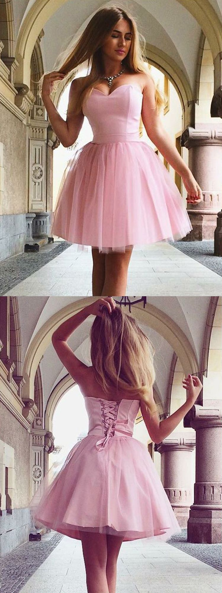 Cute a line sweetheart tulle pink short homecoming dresses under
