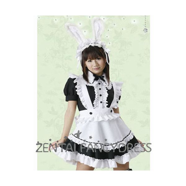 Halloween Costume 370.Cute White And Black Rabbit Maid Cosplay Lolita Dress For Sale 370