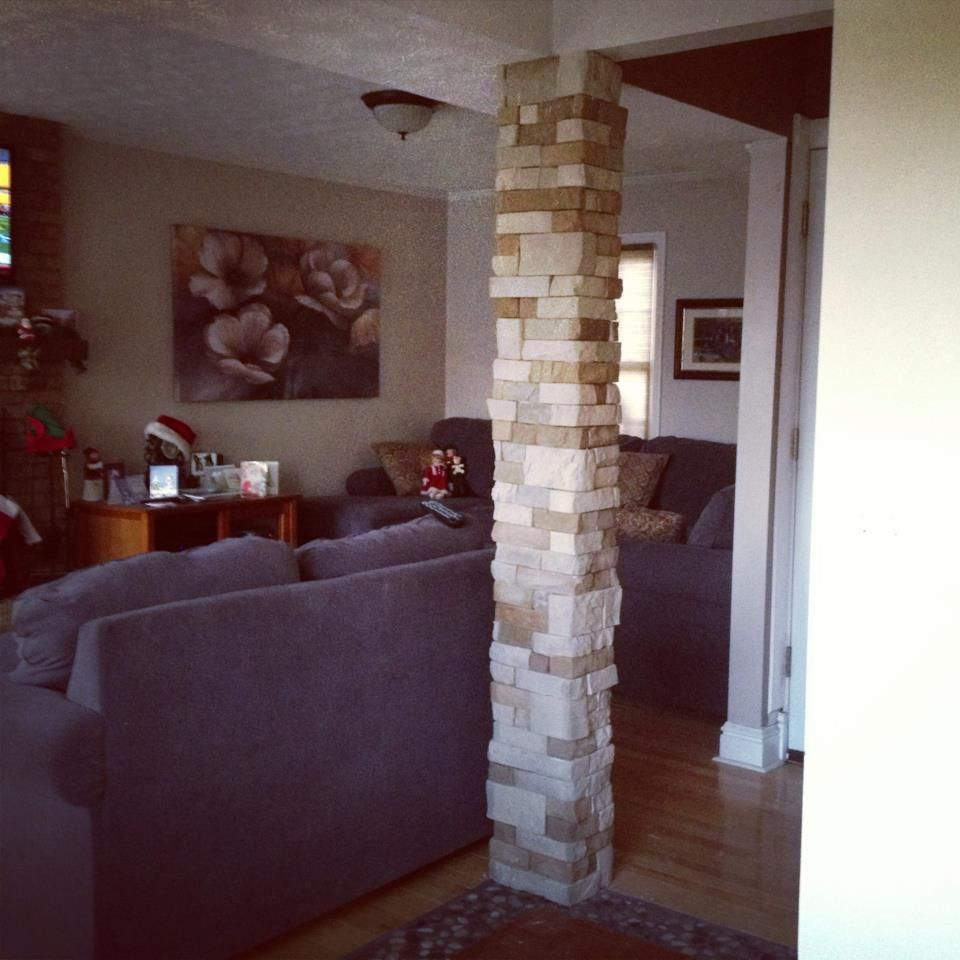 77 Really Cool Living Room Lighting Tips Tricks Ideas: AirStone Tiles Around A Plain Drywall Column Really Add To