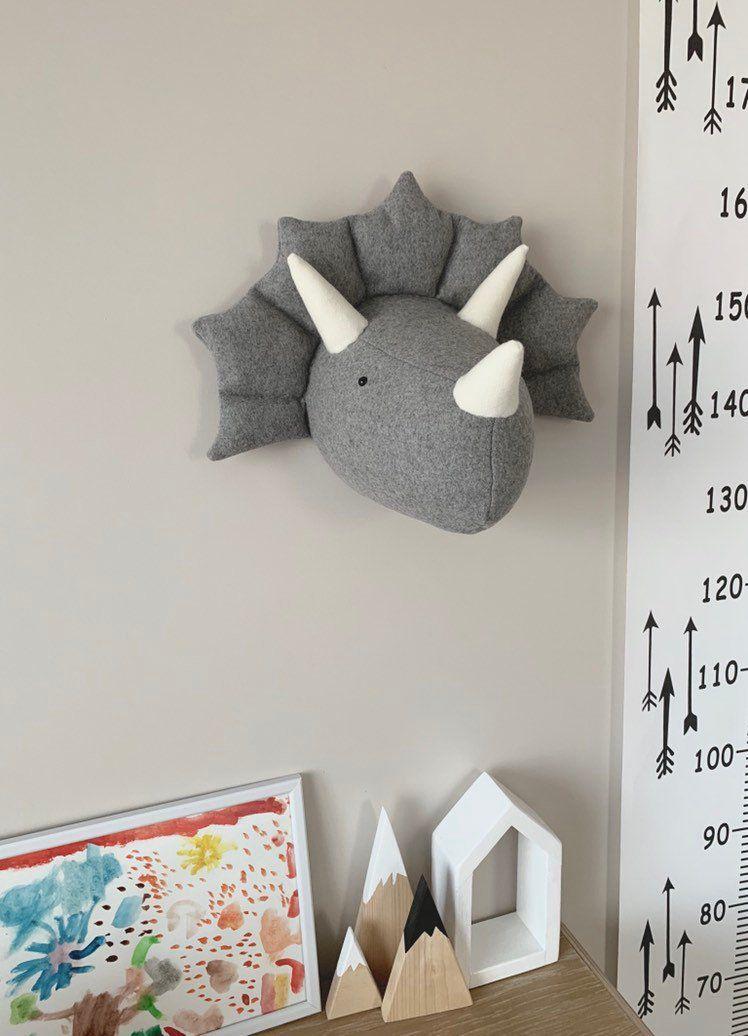 Faux Taxidermy Dinosaur Head, Fabric Wall Mounted Animal Head, Triceratops Dinosaur Head Wall Mount
