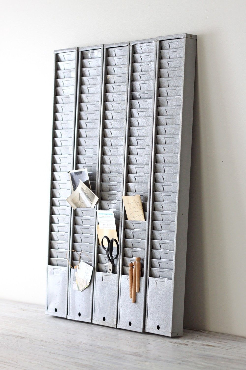 Industrial Gray Metal Time Card Rack Etsy Used Office Furniture Modern Vintage Decor Christmas Card Display