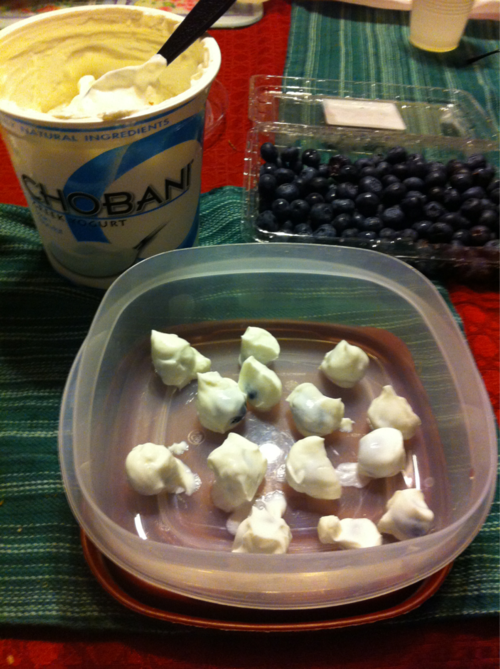 Dip Blue Berries in Yogurt, freeze over night for a healthy snack the next day. You could do this lots of different kinds of fruit!