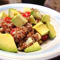 "Red Quinoa and Avocado Salad | ""I didn't know what to expect because I have tried quinoa before and hated it. But thought I would try again and I am now a fan! So yummy I can't stop eating this. Easy and healthy! Thank you!"" http://allrecipes.com/recipe/red-quinoa-and-avocado-salad/Detail.aspx"
