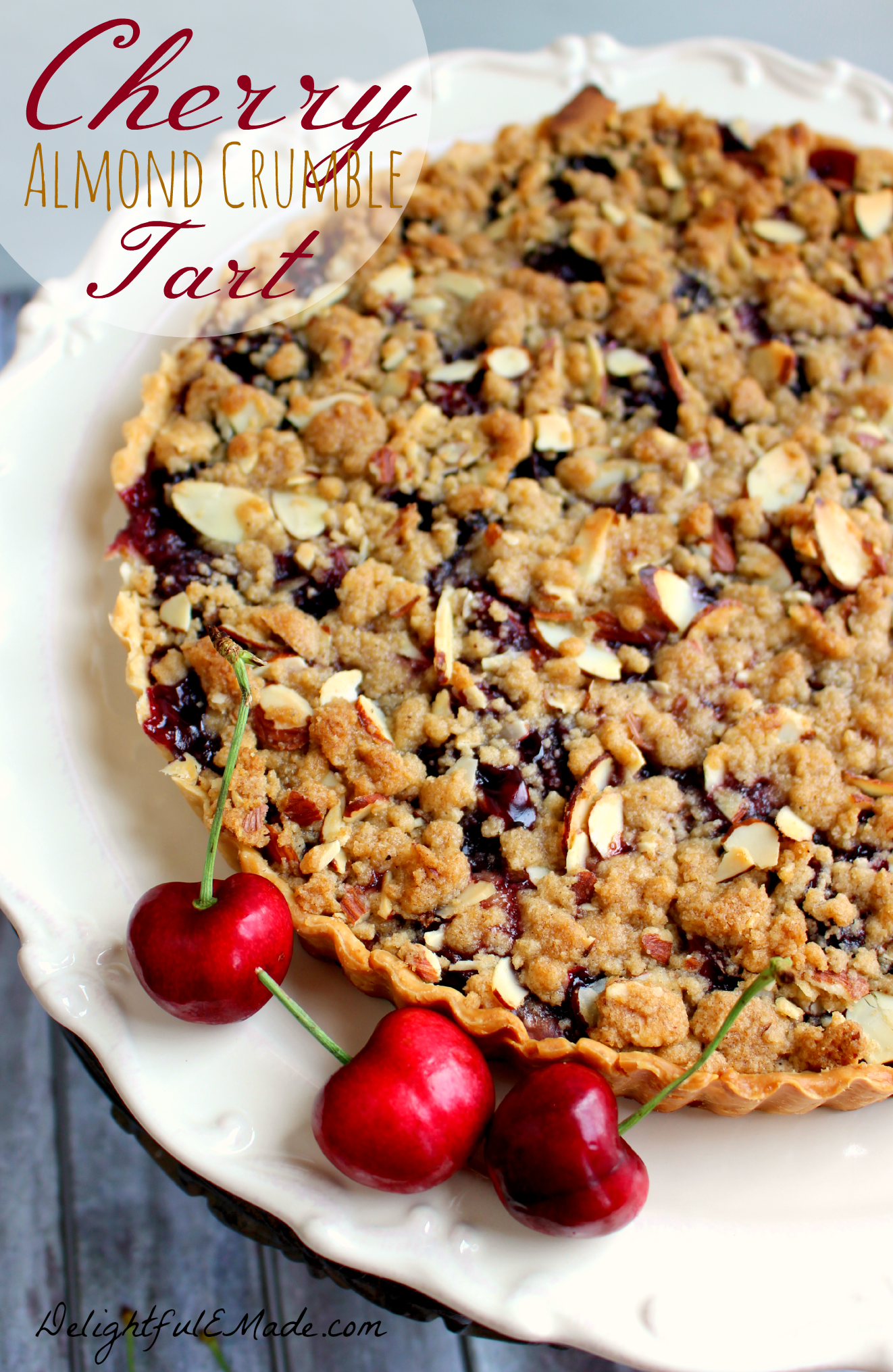 This delicious tart is filled with the flavors of summer! Super-simple to make, as it uses a store-bought pie crust, along with fresh cherries. Incredible warm out of the oven with a big scoop of ice cream! Delightful Emade #OMHGWW