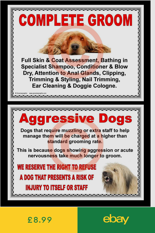 Dog Grooming Complete Groom Aggressive Dogs Signs By Groomergraphix Aggressive Dog Dog Grooming Dogs