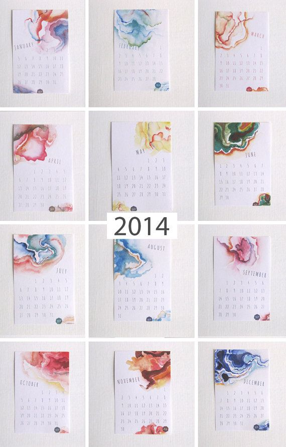 2014 Geodesic Watercolor Calendar by RubyRedDesignStudio on Etsy, $17.00