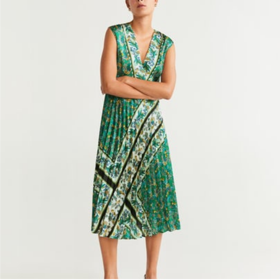 mango green Pleated dress | Vestidos de verão midi, Vestido midi