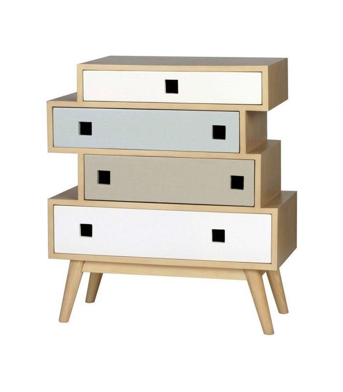Mueble auxiliar de color natural con cuatro cajones dos en color ...