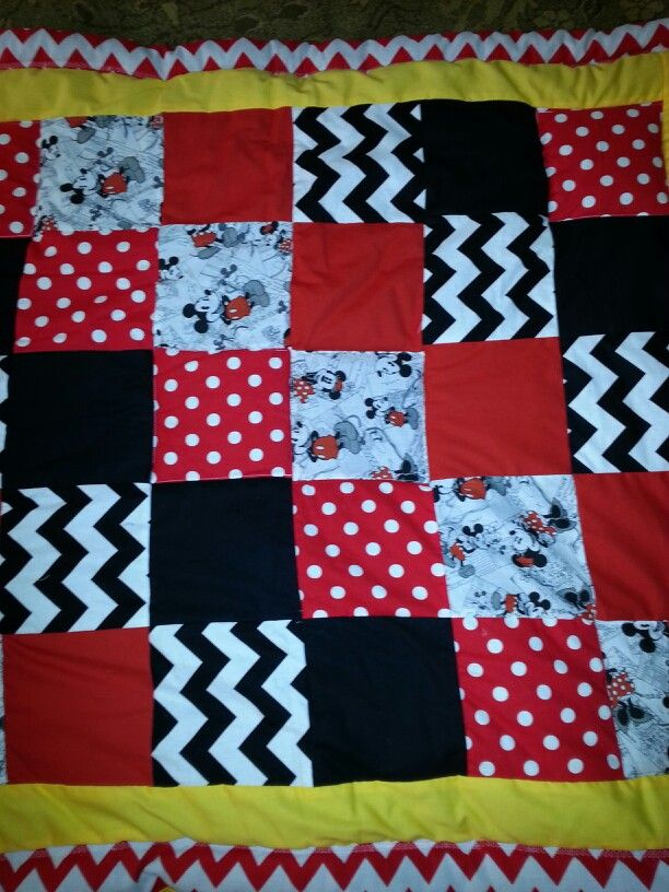 Diy Baby Blanket Square Mickey Mouse Quilt Mickey Mouse Quilt Disney Quilt Quilt Patterns