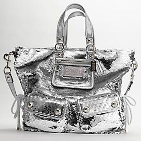 Silver Coach Sequin Bag