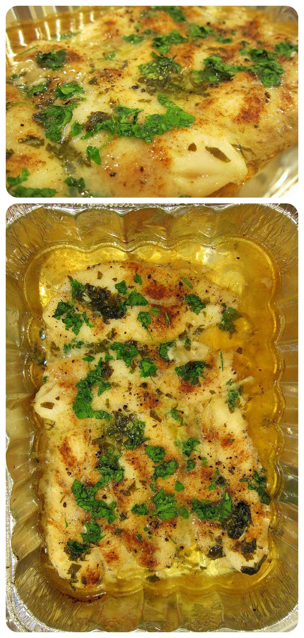Fillets baked in a White Wine Lemon Garlic Sauce - Super easy and delicious!! ~~Melissa