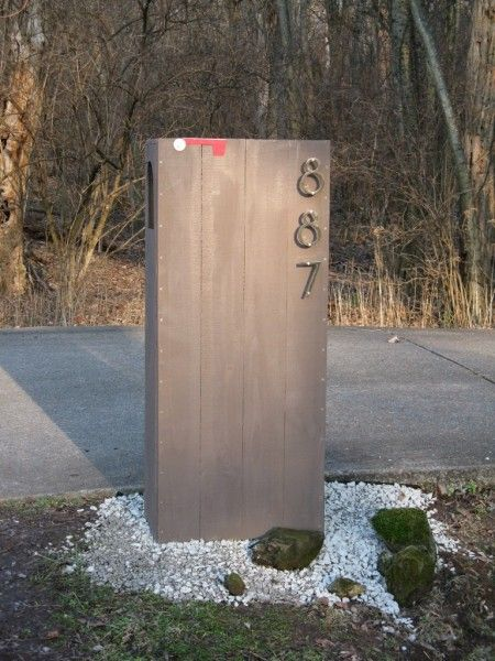 modern mailbox on pinterest mailbox post brick mailbox. Black Bedroom Furniture Sets. Home Design Ideas