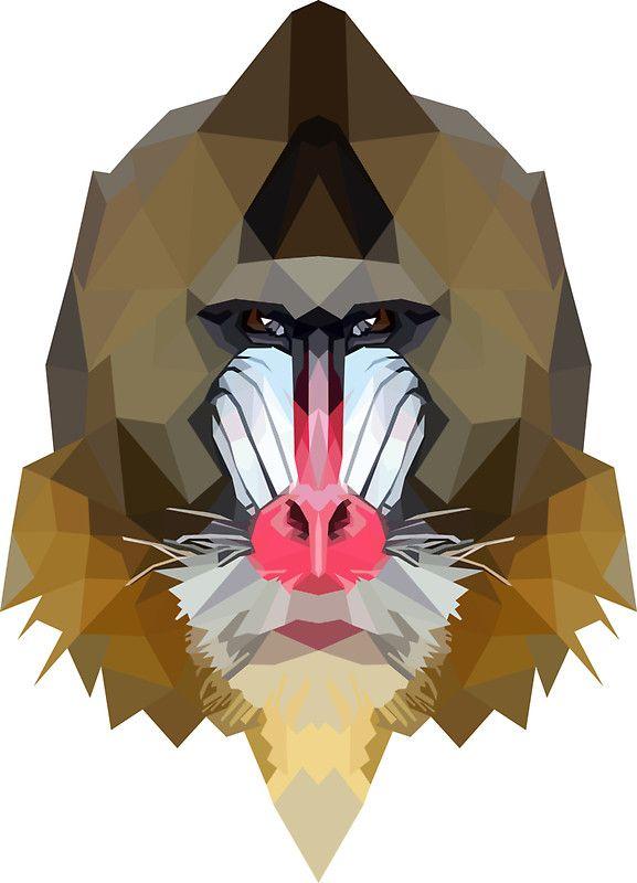 Mandrill sticker by edwardmhz graphic pinterest - Dessin de babouin ...
