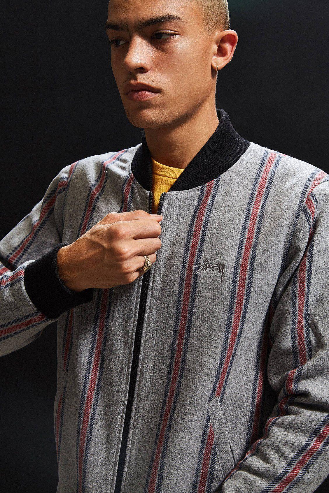 e39b8546a Stussy Wool Stripe Bomber Jacket | #UOMens | Stussy, Men sweater ...