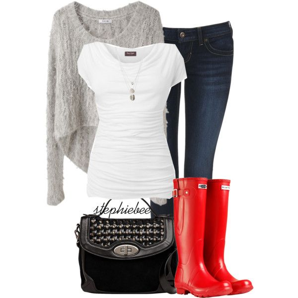 """Red Boots"" by stephiebees on Polyvore"