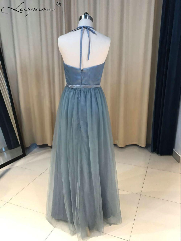 New a line dark gray styles halter tulle long bridesmaid dresses
