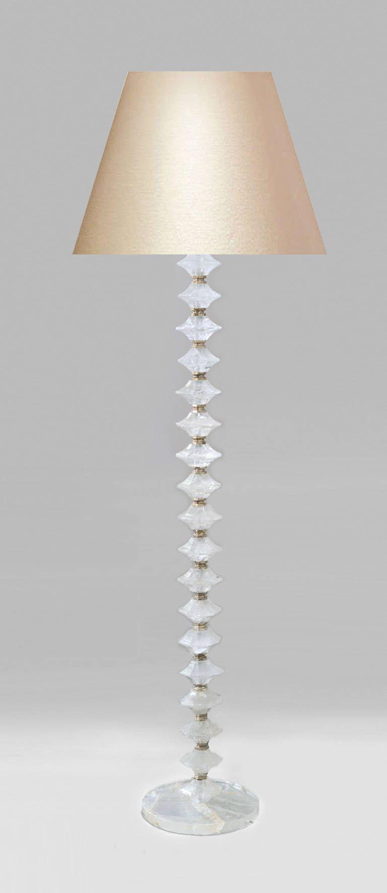 Fine Carved Diamond Form Rock Crystal Floor Lamp