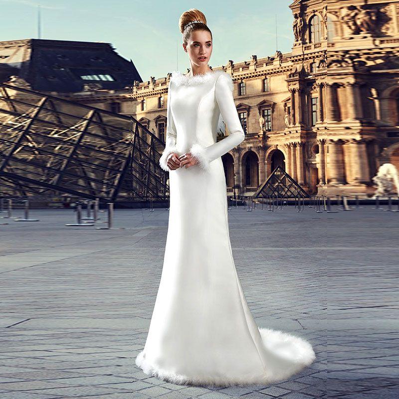 Modest Caldo di Inverno Della Pelliccia Abito Da Sposa Manica Lunga Natale Abiti  Da Sposa vestido de noiva 2017 Made in Alibaba Cina Economici ... a5cee21cbcc